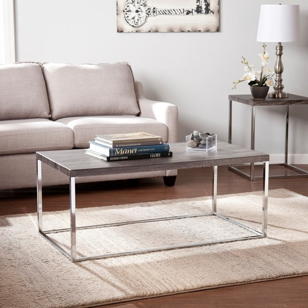Ashley Furniture Distressed Coffee Table: Harper Blvd Gorman Chrome Distressed Grey Coffee Table