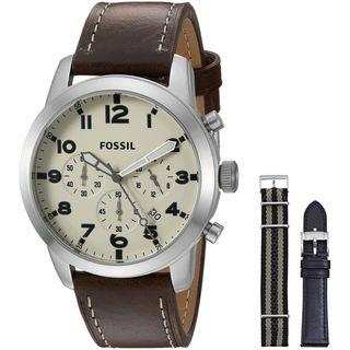 Fossil Men's FS5182SET 'Pilot 54' Chronograph Brown Leather Watch