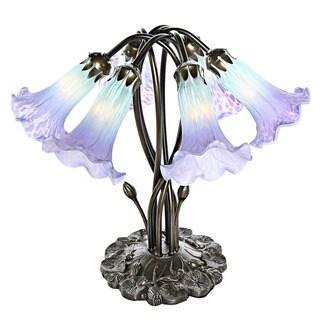 Purple/Blue Glass Handpainted Downlight Accent Lamp