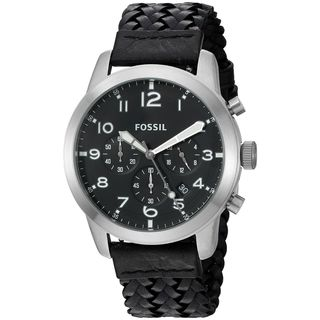 Fossil Men's FS5181 'Pilot 54' Chronograph Black Leather Watch