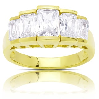 Dolce Giavonna Gold Over Sterling Silver Cubic Zirconia Ring