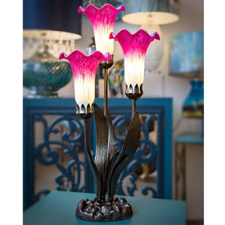 River of Goods Magenta Glass 3-light Lily Accent Lamp