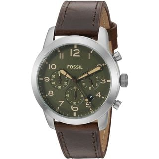 Fossil Men's FS5180 'Pilot 54' Chronograph Brown Leather Watch