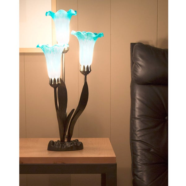 Handpainted Teal and White Glass 3-lily Uplight Accent Lamp - Free ...