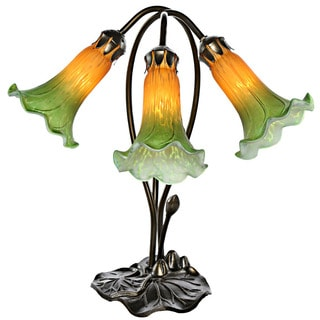 Three Lily Green/Amber Handpainted Glass Downlight Accent Lamp