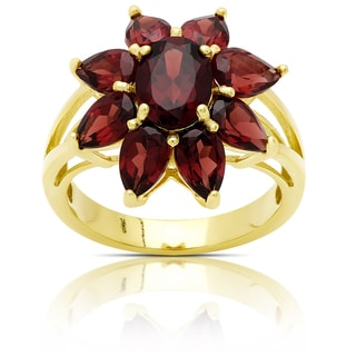 Dolce Giavonna Gold Over Sterling Silver Garnet Flower Ring