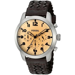 Fossil Men's FS5178 'Pilot 54' Chronograph Brown Leather Watch