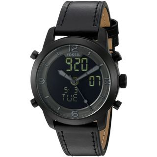 Fossil Men's FS5174 'Pilot 54' Analog-Digital Black Leather Watch