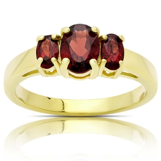 Dolce Giavonna Gold Over Sterling Silver Three Stone Garnet Ring