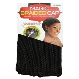 Magic Braided Cornrow Cap Black Hairpiece with Combs