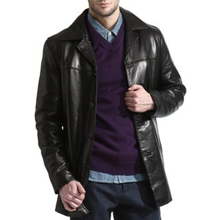 Men's Black Lambskin Leather Car Coat