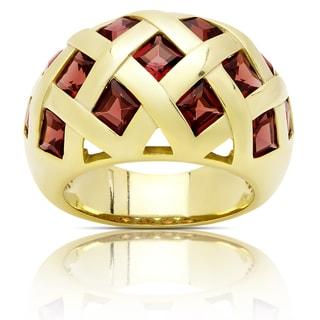 Dolce Giavonna Gold Over Sterling Silver Garnet Cocktail Ring