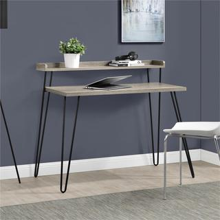Ameriwood Home Haven Retro Sonoma Oak/ Gunmetal Grey Desk with Riser