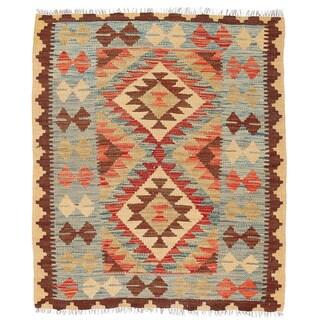 Herat Oriental Afghan Hand-woven Wool Mimana Kilim (2'10 x 3'4)