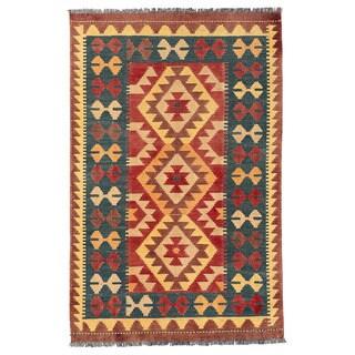 Herat Oriental Afghan Hand-woven Wool Mimana Kilim (2'7 x 4'1)