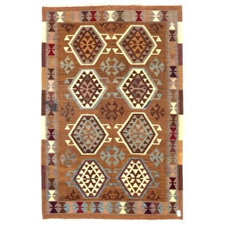 Herat Oriental Afghan Hand-woven Wool Mimana Kilim (3'4 x 5'1)