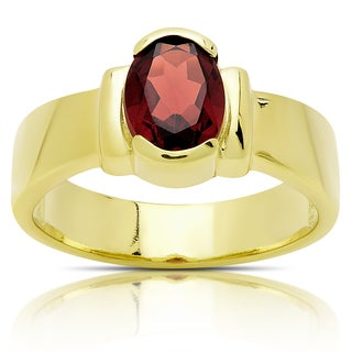 Dolce Giavonna Gold Over Sterling Silver Oval Garnet Solitaire Ring