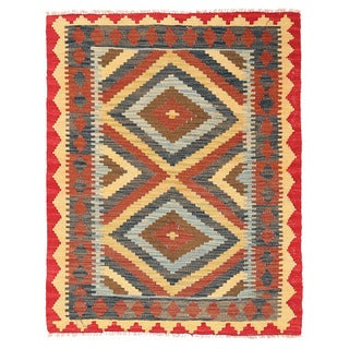 Herat Oriental Afghan Hand-woven Wool Mimana Kilim (2'11 x 3'8)