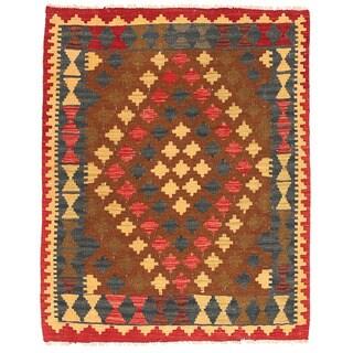 Herat Oriental Afghan Hand-woven Wool Mimana Kilim (2'9 x 3'5)