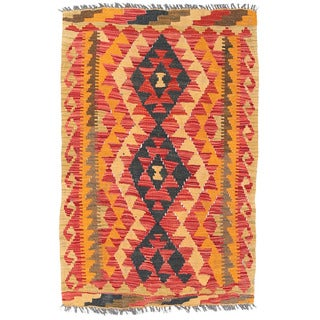Herat Oriental Afghan Hand-woven Mimana Kilim Red/ Gold Wool Rug (2'7 x 3'10)