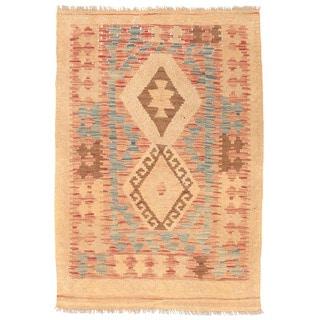 Herat Oriental Afghan Hand-woven Wool Mimana Kilim (2'10 x 4'1)