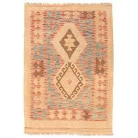 Handmade Herat Oriental Afghan Wool Mimana Kilim (Afghanistan) - 2'10 x 4'1