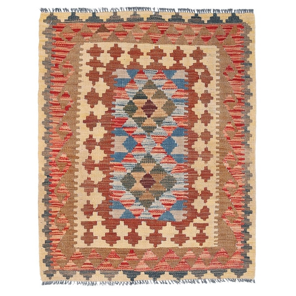 Herat Oriental Afghan Hand-woven Wool Mimana Kilim - 2'10 x 3'8