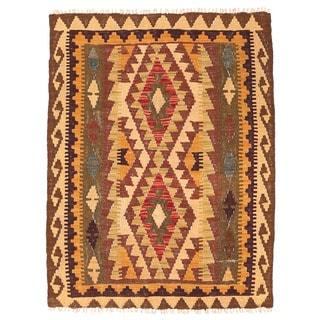 Herat Oriental Afghan Hand-woven Wool Mimana Kilim (2'9 x 3'8)