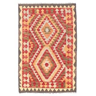 Herat Oriental Afghan Hand-woven Wool Mimana Kilim (2'8 x 4'1) - 2'8 x 4'1