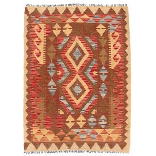 Handmade Herat Oriental Afghan Wool Mimana Kilim - 2'11 x 3'11 (Afghanistan)