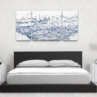 Keith Nixon 'Water Splash on White' Triptych Canvas Wall Art
