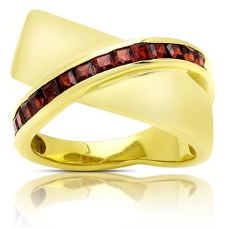 Dolce Giavonna Gold Over Sterling Silver Garnet Criss-cross Design Ring