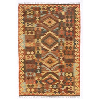 Herat Oriental Afghan Hand-woven Wool Mimana Kilim (3'3 x 4'10)