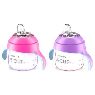 Philips Avent Pink/Purple My Penguin 7-ounce Sippy Cups (Set of 2)