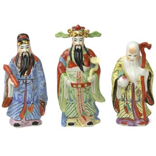 Handmade Set of 3 Hand-glazed 10-inch Tao Lucky Gods (China)