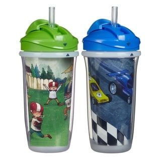 Playtex Green Football and Blue Cars 9-ounce Insulator Straw Cups (Pack of 2)