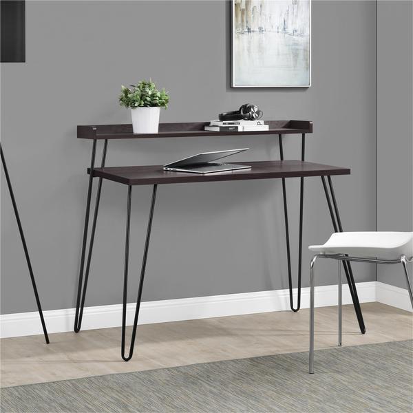 Ameriwood Home Haven Retro Espresso Gunmetal Grey Desk