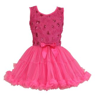 Popatu Girl's Hot Pink Cotton, Polyester, Spandex Ruffle Petticoat Sleeveless Dress