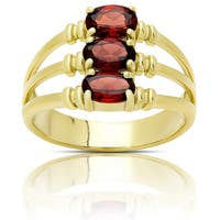 Dolce Giavonna Gold Over Sterling Silver Garnet Three Stone Ring