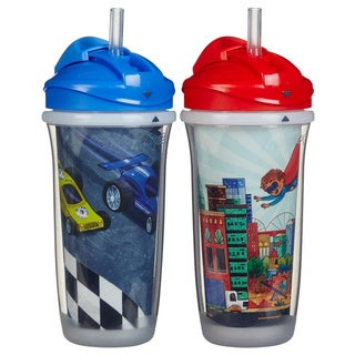 Playtex Blue Cars/Red Hero 9-ounce Insulator Straw Cups (Pack of 2)