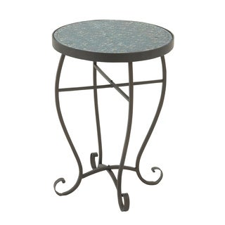 Black/Turquoise Metal Round Mosaic Side Table