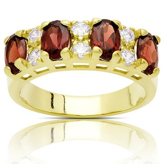 Dolce Giavonna Gold Over Steling Silver Garnet and Cubic Zirconia Ring