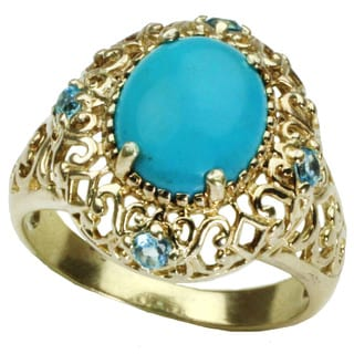 One-of-a-kind Michael Valitutti Yellow Gold Plated Cabochon Kingman Turquoise with Round Swiss Blue Topaz Ring