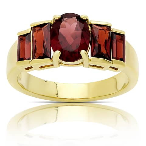 Dolce Giavonna Gold Over Sterling Silver Garnet Ring