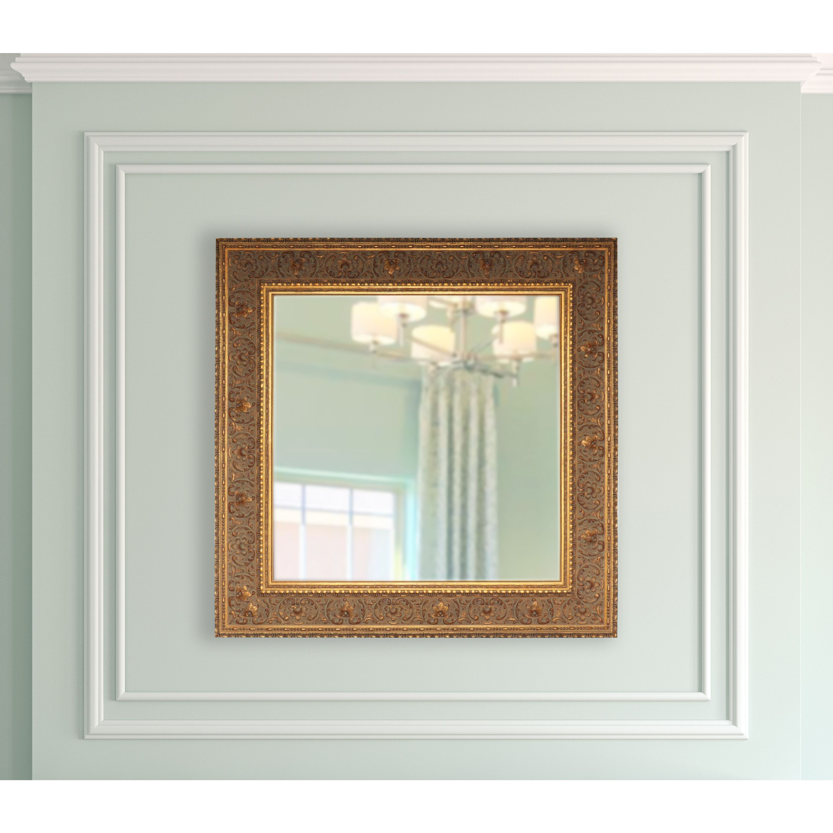 Shop American Made Rayne Opulent Gold Square Vanity Wall Mirror Overstock 11936444