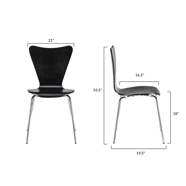EdgeMod Elgin Molded Wood Dining Chair (Set of 4)