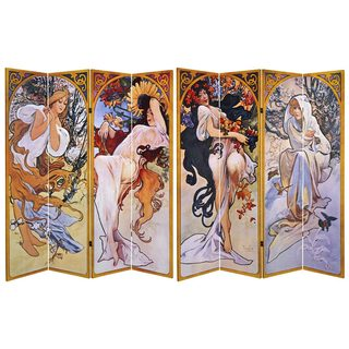 Double Sided Four Seasons 6-foot Tall Canvas Room Divider