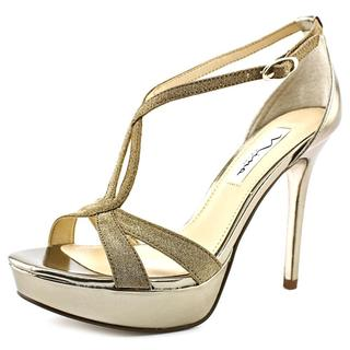 Nina Women's Sizzle Gold Vinyl High Heel Sandals