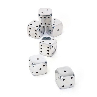 Hip Vintage Sin City Silver Aluminum Dice (Pack of 6)