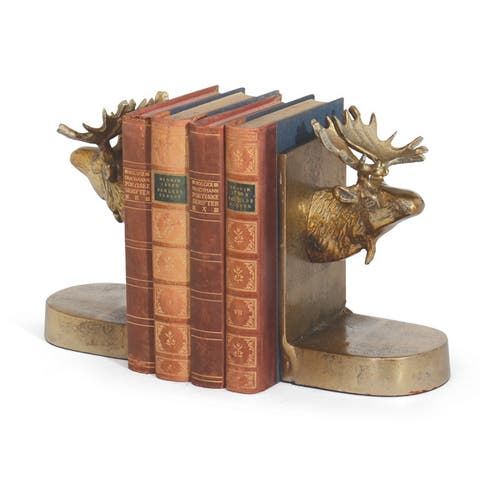 Moose Brushed Brass Bookends (Set of 2)